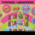 comic book baby shower girl toppers and wrappers