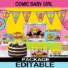 comic super hero girl baby shower printables party kit