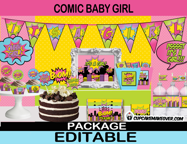 comic super hero girl baby shower printables party kit