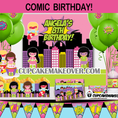 superhero girl comic book birthday package party supplies