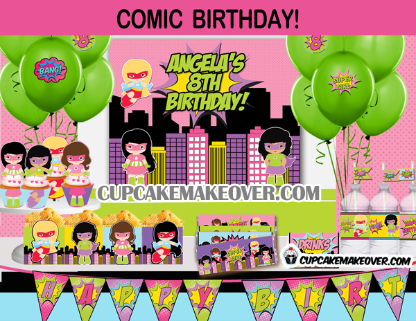 Wonder Girl Superhero Party Package INSTANT DOWNLOAD Cupcakemakeover
