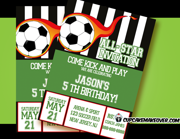Soccer Party Invitation for Boys Personalized Cupcakemakeover