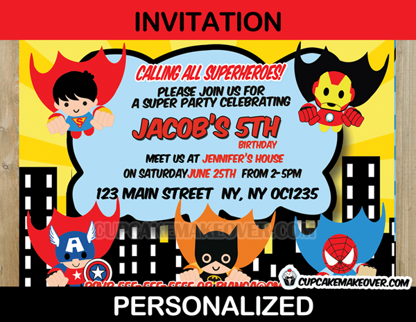 action superhero comic party yellow invitation card personalized