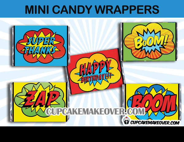 action comics super hero mini candy wrappers