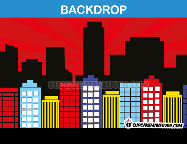 red background city scape super hero backdrop