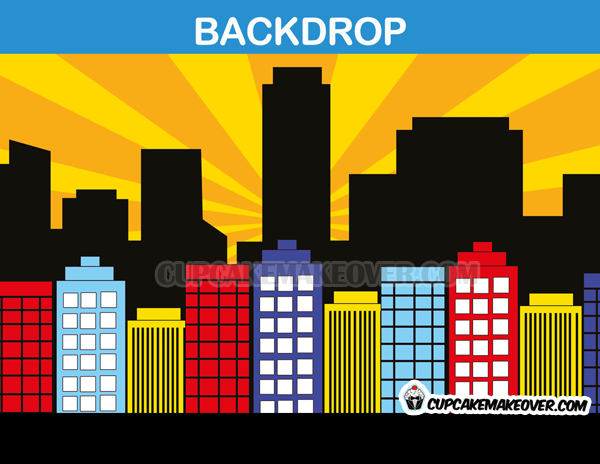 yellow super hero comic back drop cityscape