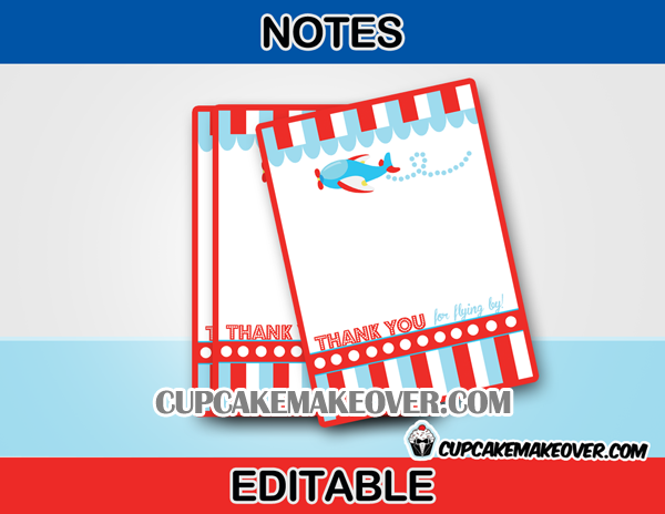 airplane editabel favor cards