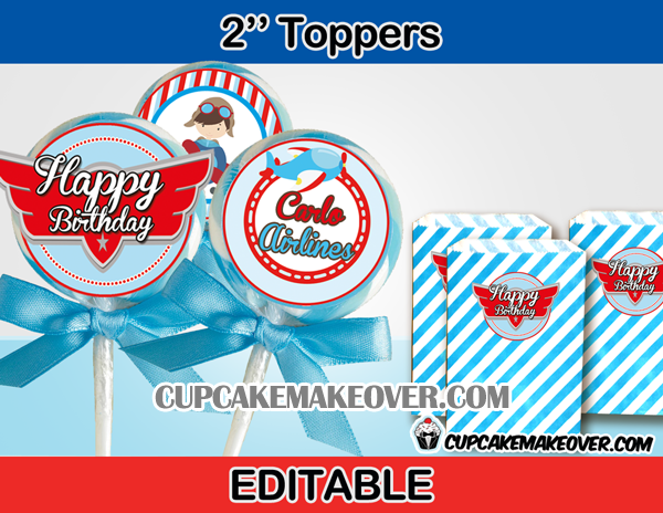 editable airplane toppers wings