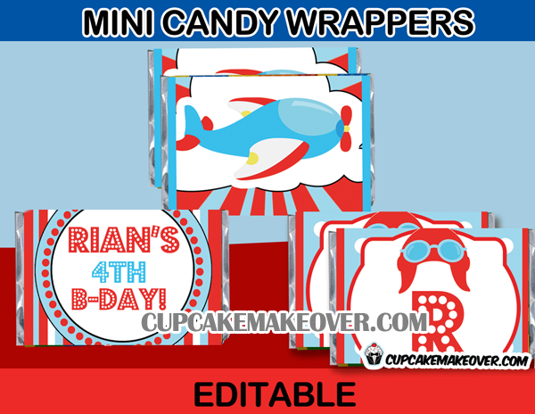 editable airplane candy labels mini