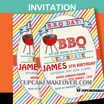 grill out bbq birthday invitation