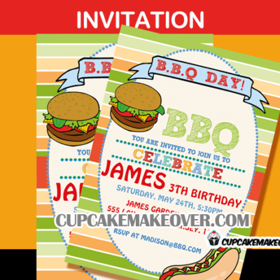 barbeque invitation backyard summer birthday
