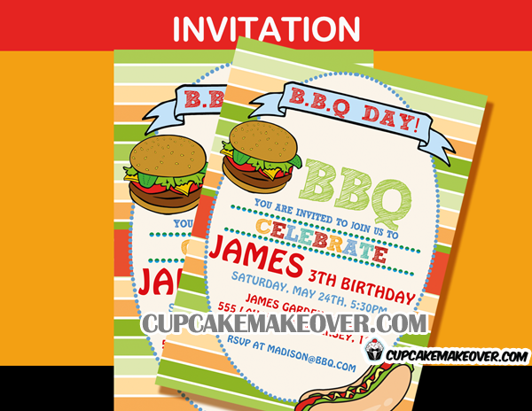 barbeque invitation backyard summer birthday