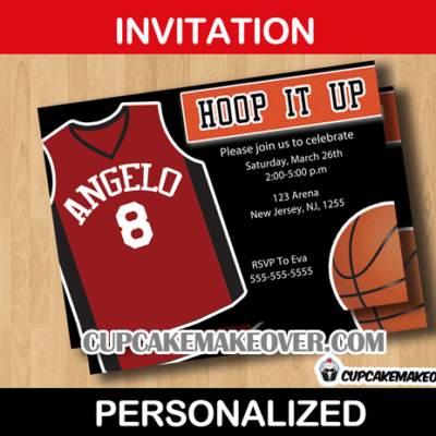 sports birthday invitation hoops card
