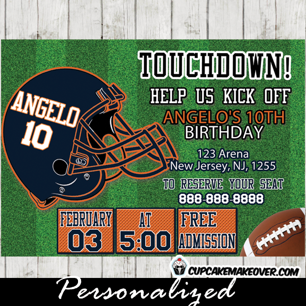Sports Themed Football Birthday Invitations Player