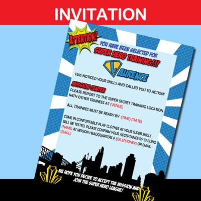 boys superhero camp training party invitation card