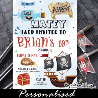 pirate birthday invitation for boys