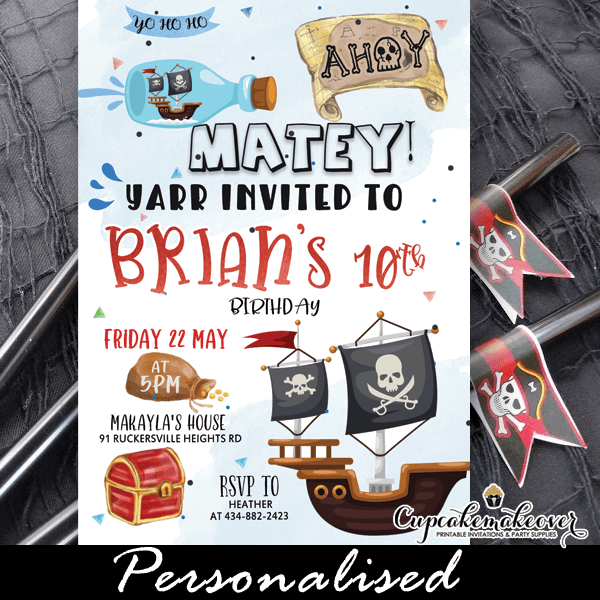 pirate birthday invitation for boys