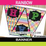 rainbow birthday pennant flags banner
