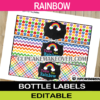 editable rainbow colors bottle wrappers