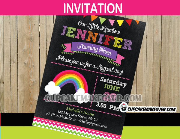 rainbow party invitation card