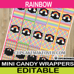 rainbow colors mini candy labels