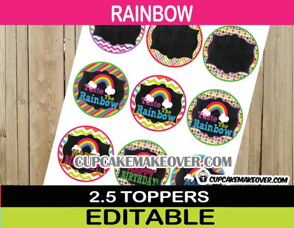 chevron stripe polka editable rainbow cupcake toppers