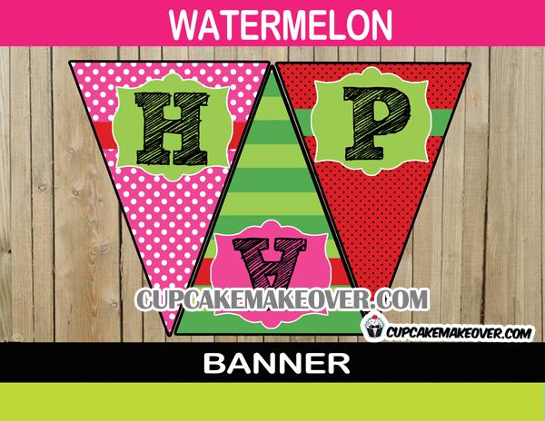 summer birthday pink watermelon Pennant banner