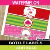 watermelon birthday bottle labels
