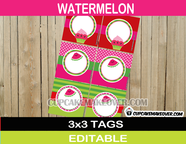 editable watermelon labels