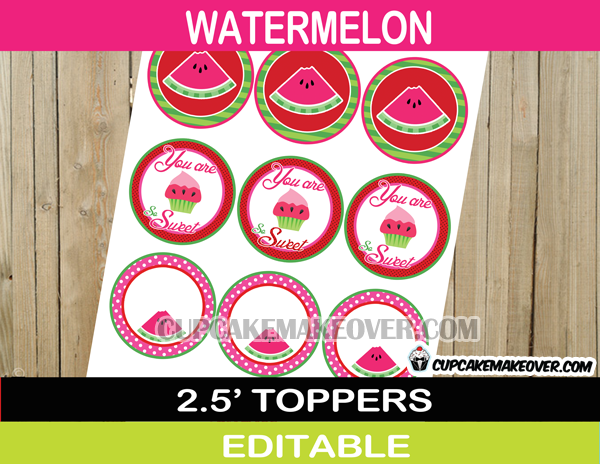 cake watermelon cupcake toppers