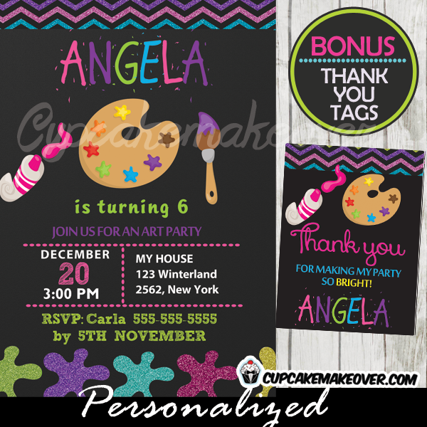 girl printable painting party art themed invitations chalkboard