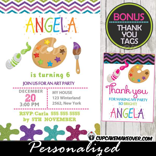 art party paint palette invitation personalized d2 cupcakemakeover