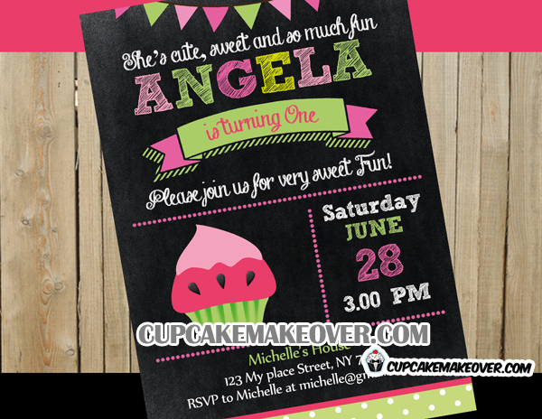 sweet watermelon cupcake invitation