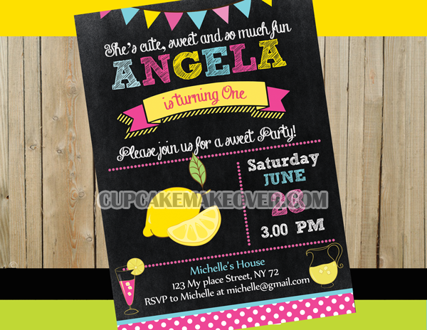 chalkboard Lemonade party Invitation card