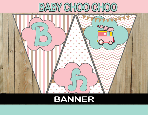 baby shower girl train pennant banner