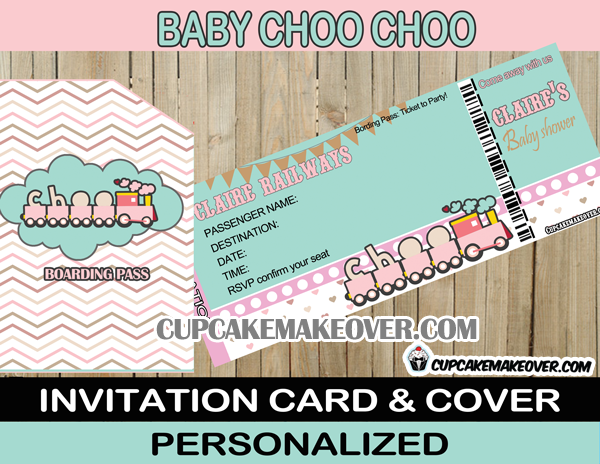 baby shower girl train invitation ticket
