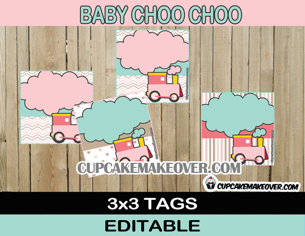 baby train editable tags