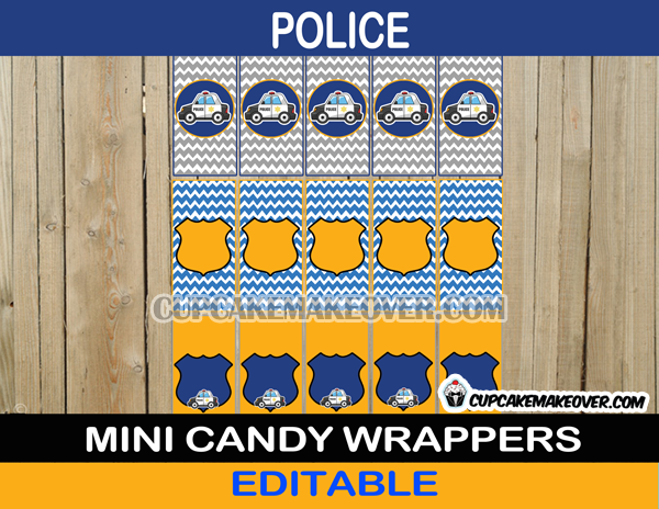 cops policeman mini candy labels