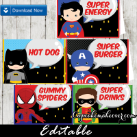 174-Comic-Superhero-Editable-food-tents