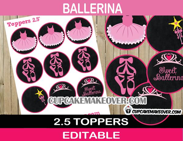 editable ballerina cupcake toppers