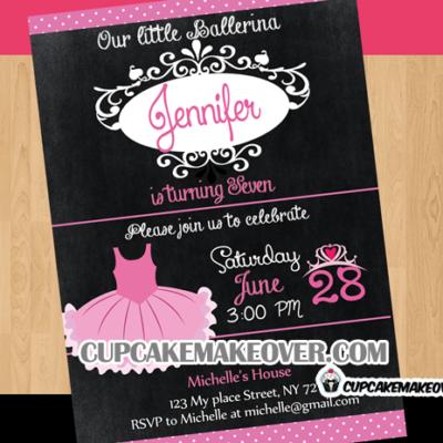 ballet party little ballerina birthday invitation card