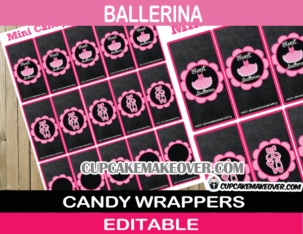 editable ballerina mini candy labels