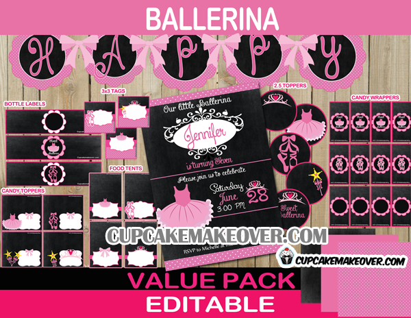 printable Ballerina birthday party package