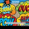 superhero pop art comic book action bubble signs