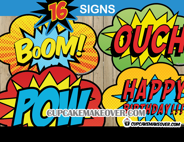 superhero pop art comic book action bubble signs