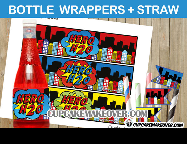 printable h2o superhero water bottle wrappers
