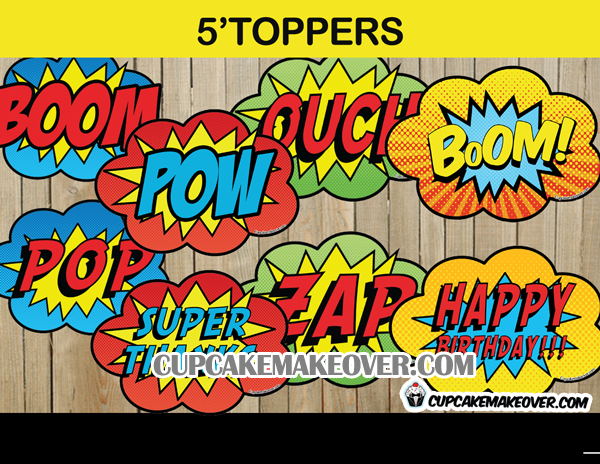 Comic Boom Pow Toppers