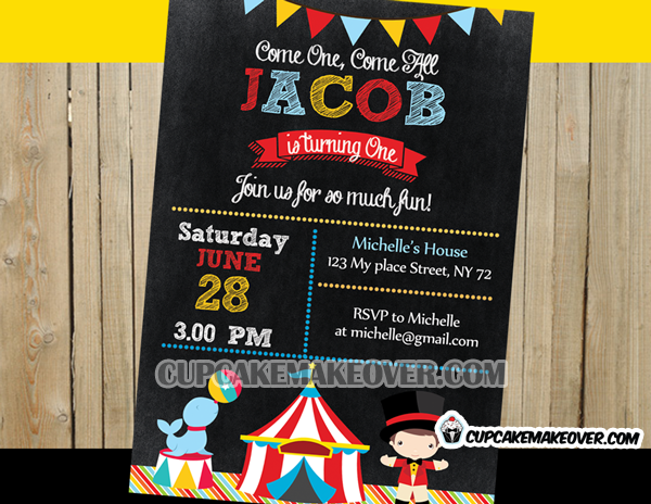 Carnival Chalkboard Birthday Party Invitation Personalized