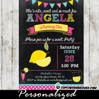 chalkboard Lemonade first birthday Invitations pink yelow blue bunting girls