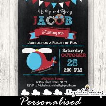 chalkboard helicopter birthday party invitations boy pilot